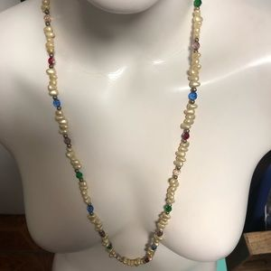16 inch vintage pearl and crystal beads necklace